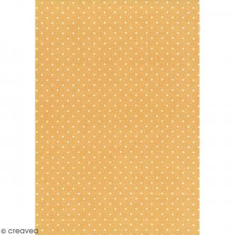 Daily like Jaune moutarde - Pois - Tissu autocollant A4