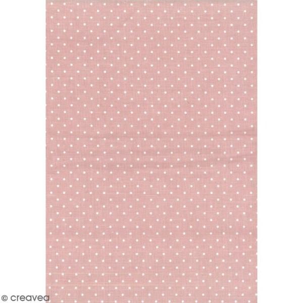 Daily like Rose pêche - Pois - Tissu autocollant A4 - Photo n°1
