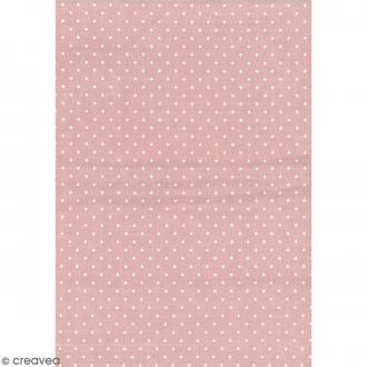 Daily like Rose pêche - Pois - Tissu autocollant A4