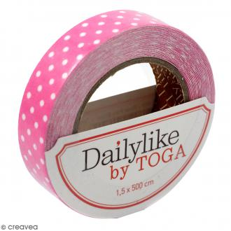 Masking tape tissu - Rose vif - Pois blancs - Daily Like - 5 m