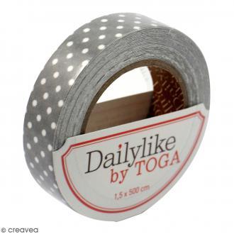 Masking tape tissu - Gris à pois blancs Daily Like - 1,5 cm x 5 mètres