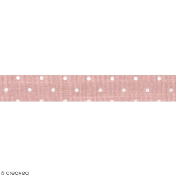 Masking tape tissu - Rose pêche - Pois blancs - Daily Like - 5 m - Photo n°2