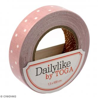 Masking tape tissu - Rose pêche - Pois blancs - Daily Like - 5 m
