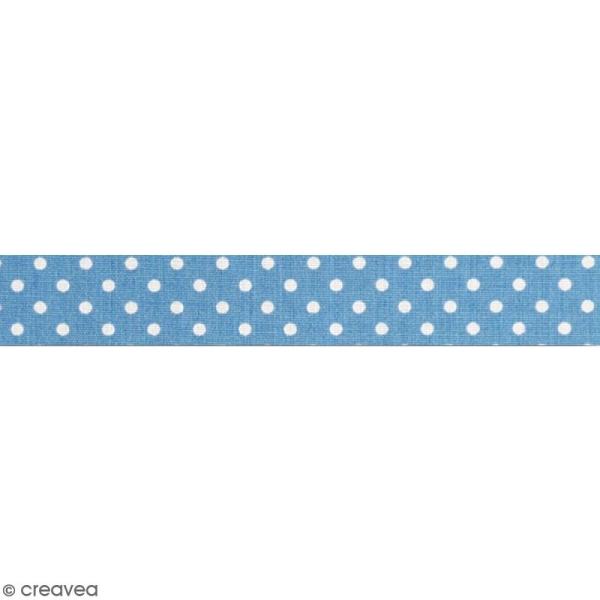 Masking tape tissu - Bleu canard - Pois blancs - Daily Like - 5 m - Photo n°2