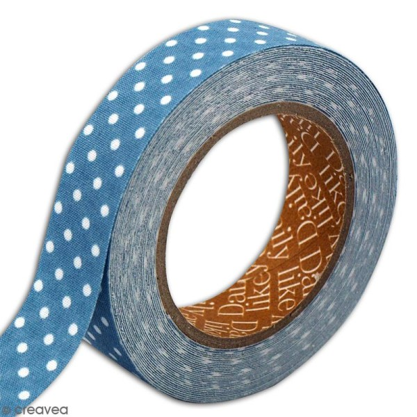 Masking tape tissu - Bleu canard - Pois blancs - Daily Like - 5 m - Photo n°3