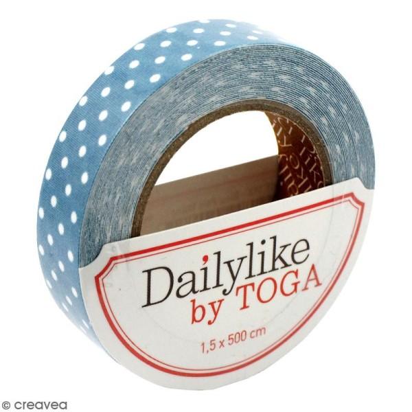 Masking tape tissu - Bleu canard - Pois blancs - Daily Like - 5 m - Photo n°1