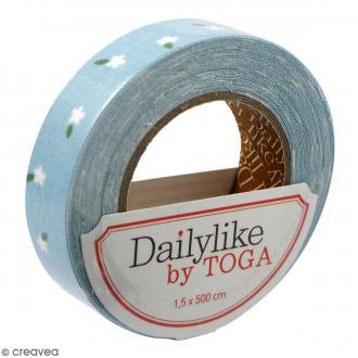 Masking tape tissu - Bleu ciel - Mini fleurs - Daily Like - 5 m