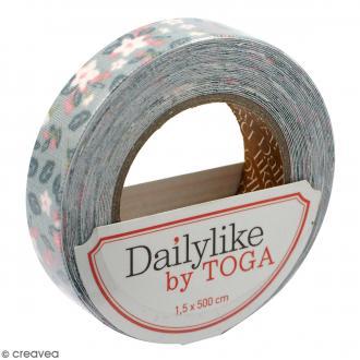 Masking tape tissu - Vert et rose - Fleurs et feuillage - Daily Like - 5 m