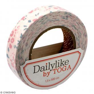 Masking tape tissu - Rose - Fleurs - Daily Like - 5 m