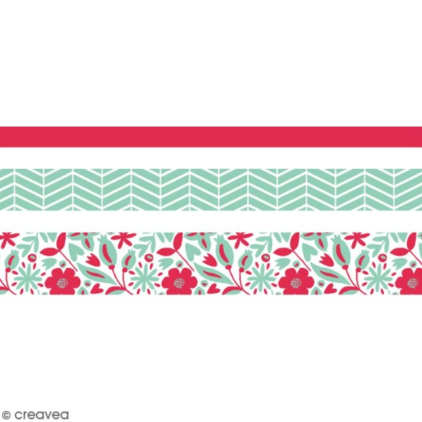 Masking tape Toga - Rose, vert zigzag, fleurs - 3 rouleaux - Photo n°2