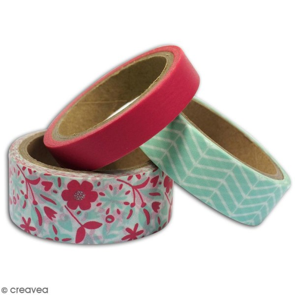 Masking tape Toga - Rose, vert zigzag, fleurs - 3 rouleaux - Photo n°3