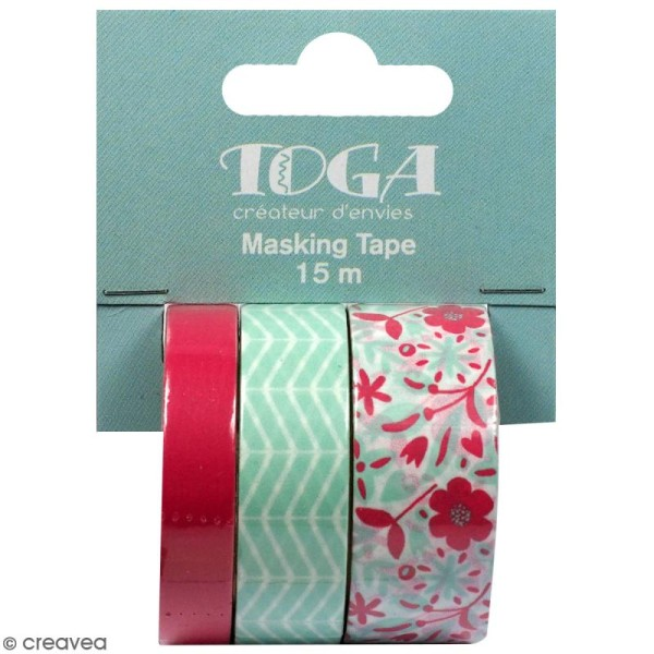 Masking tape Toga - Rose, vert zigzag, fleurs - 3 rouleaux - Photo n°1