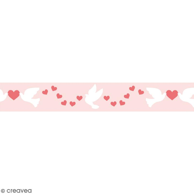 Masking tape Toga - Coeurs, colombes - Rose - 1,5 x 10 m - Photo n°1