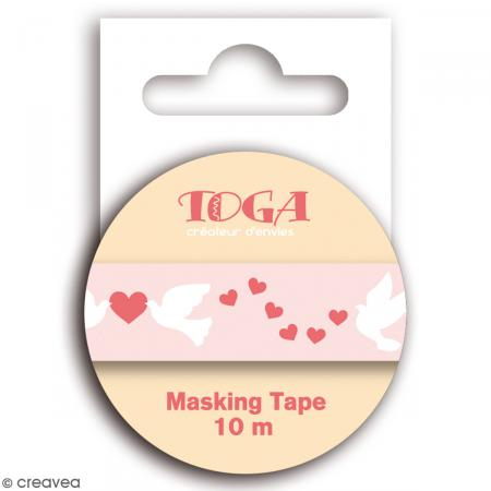 Masking tape Toga - Coeurs, colombes - Rose - 1,5 x 10 m - Photo n°2
