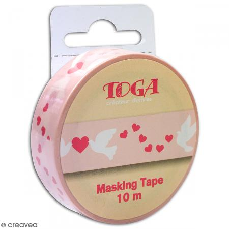 Masking tape Toga - Coeurs, colombes - Rose - 1,5 x 10 m - Photo n°4