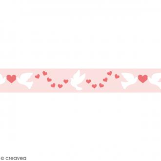 Masking tape Toga - Coeurs, colombes - Rose - 1,5 x 10 m