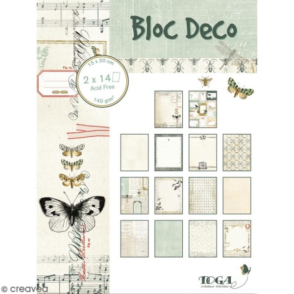 Bloc Deco Toga - Cabinet de curiosité - 15 x 20 cm - 28 feuilles - Photo n°1