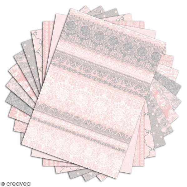 Papier scrapbooking Toga - Color factory - Dentelles - 48 feuilles A4 - Photo n°2