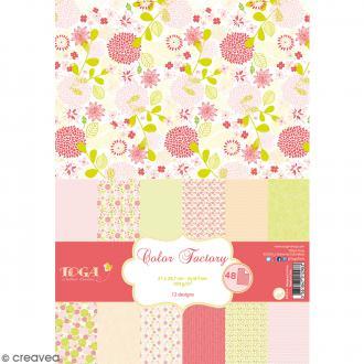 Papier scrapbooking Toga - Color factory - Rose et vert - 48 feuilles A4