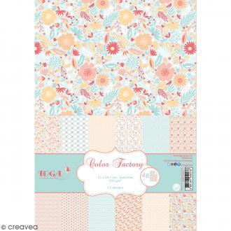 Papier scrapbooking Toga - Color factory - Vert menthe, orange et rose - 48 feuilles A4