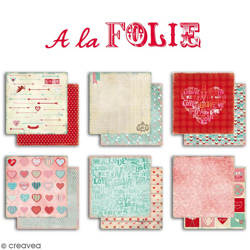 Papier scrapbooking A la folie - Set 6 feuilles 30,5 x 30,5 cm - Recto Verso - Photo n°2