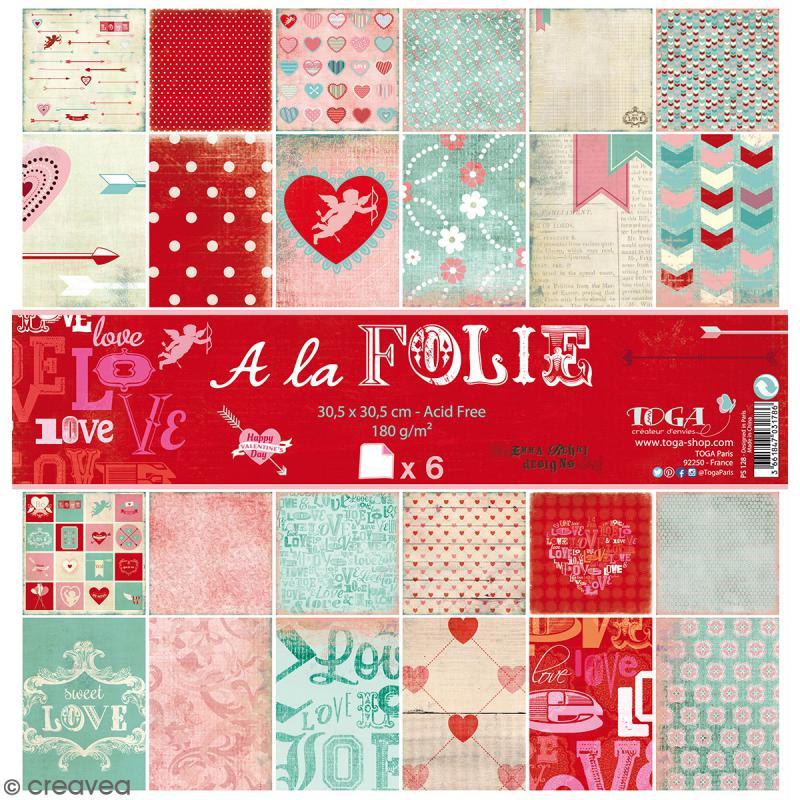 Papier scrapbooking A la folie - Set 6 feuilles 30,5 x 30,5 cm - Recto Verso - Photo n°1