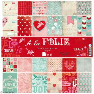 Papier scrapbooking A la folie - Set 6 feuilles 30,5 x 30,5 cm - Recto Verso