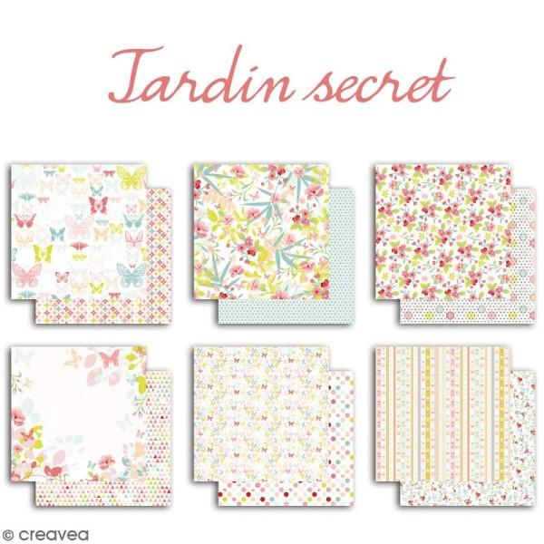 Papier scrapbooking Jardin secret - Set 6 feuilles 30,5 x 30,5 cm - Recto Verso - Photo n°2