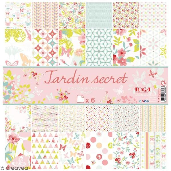 Papier scrapbooking Jardin secret - Set 6 feuilles 30,5 x 30,5 cm - Recto Verso - Photo n°1
