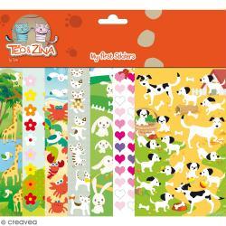 Assortiment Promo - Stickers en feutrine Téo & Zina - 7 planches de 15 x 10 cm