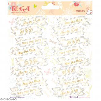 Stickers Toga Textes dorés Save the date - 2 planches de 15 x 15 cm - 32 stickers