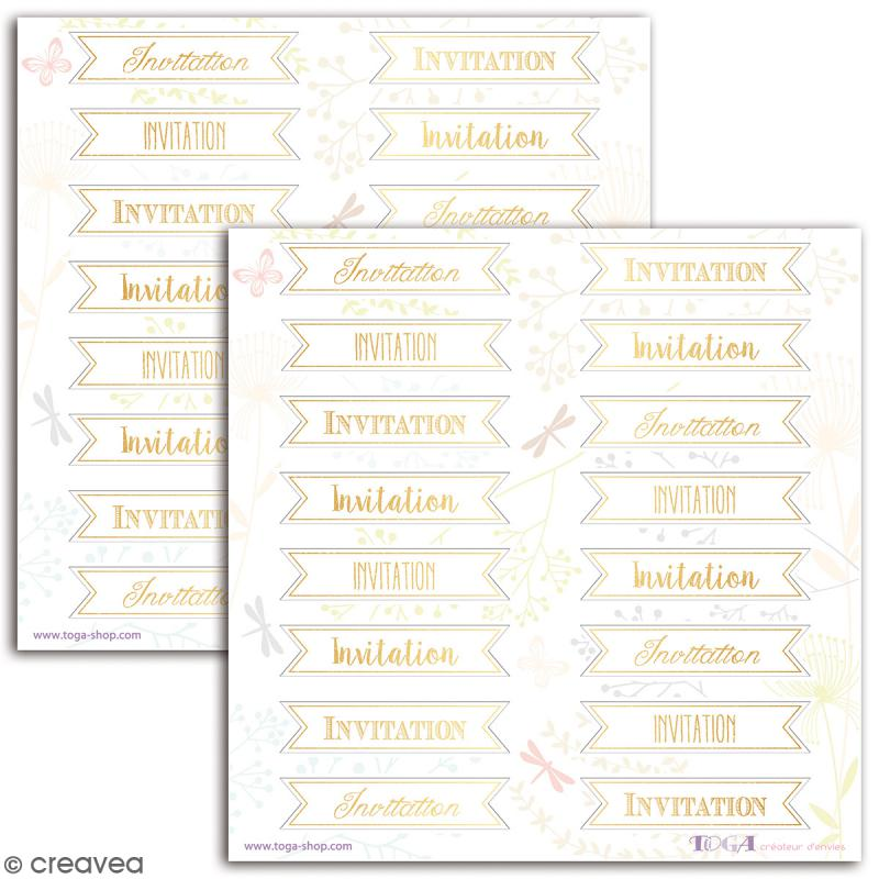 Stickers Toga Textes dorés Invitation - 2 planches de 15 x 15 cm - 32 stickers - Photo n°2