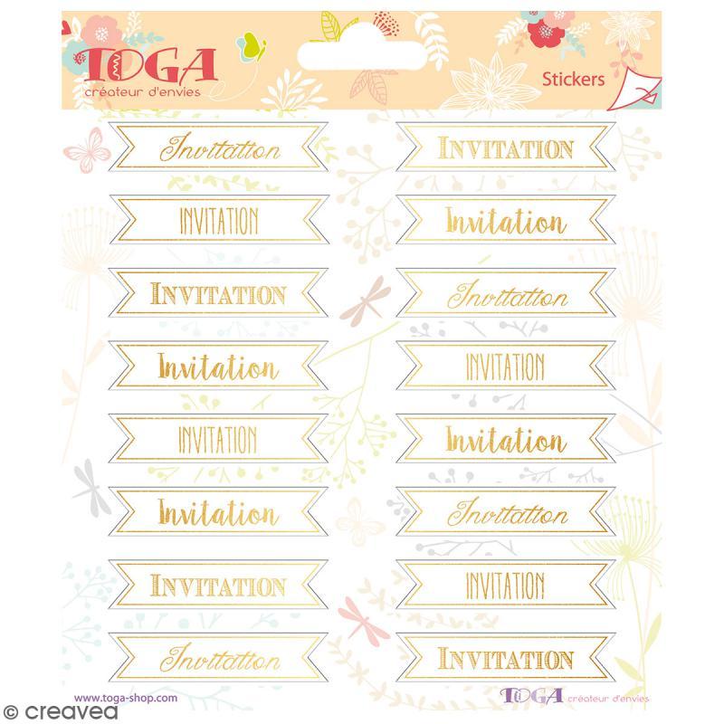 Stickers Toga Textes dorés Invitation - 2 planches de 15 x 15 cm - 32 stickers - Photo n°1
