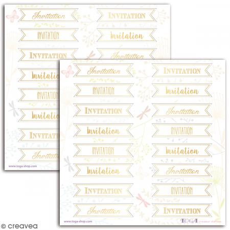 Stickers Toga Textes dorés Invitation - 2 planches de 15 x 15 cm - 32 stickers - Photo n°2