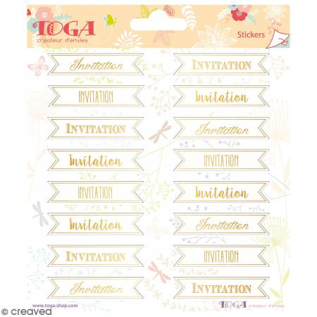 Stickers Toga Textes dorés Invitation - 2 planches de 15 x 15 cm - 32 stickers - Photo n°1