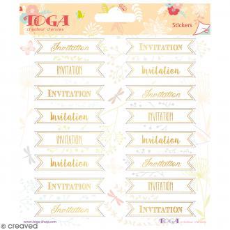 Stickers Toga Textes dorés Invitation - 2 planches de 15 x 15 cm - 32 stickers