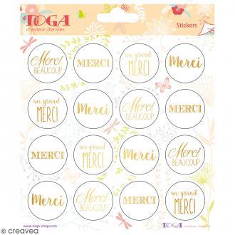 Stickers Toga Textes et motifs dorés Merci - 2 planches de 15 x 15 cm - 32 stickers