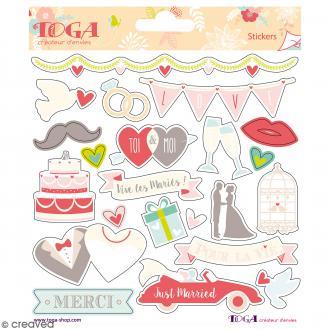 Stickers Toga Textes et motifs dorés Mariage - 2 planches de 15 x 15 cm - 44 stickers
