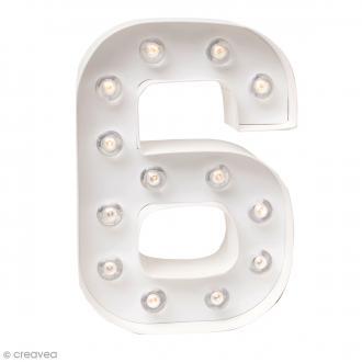Chiffre lumineux à Led 6 - 20,3 x 13,8 x 5 cm