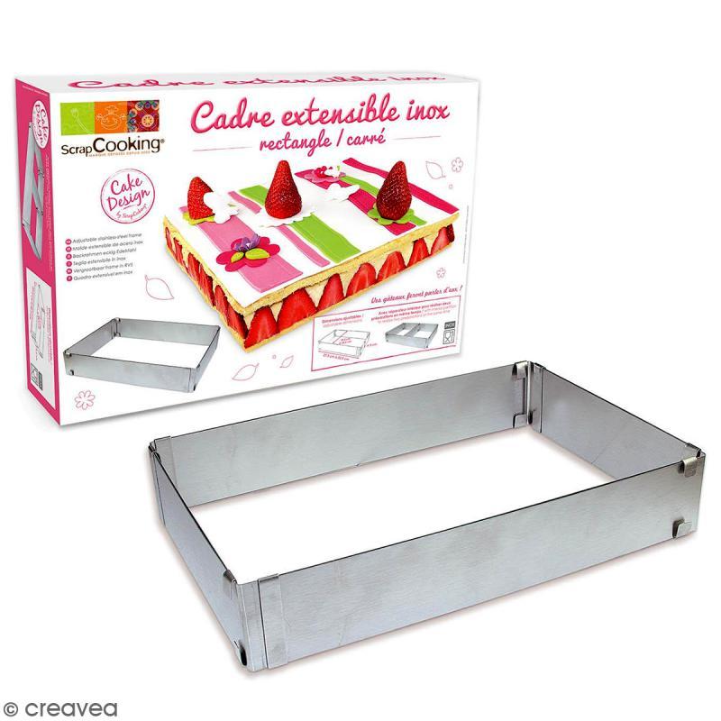 Cadre à pâtisserie - Carré/rectangulaire - Inox - Extensible - Photo n°1
