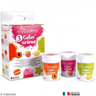 Trio de colorant alimentaire parfumé Color'arôme - Pêche, framboise et pistache