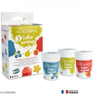 Trio de colorant alimentaire parfumé Color'arôme - Fraise, myrtille et pomme