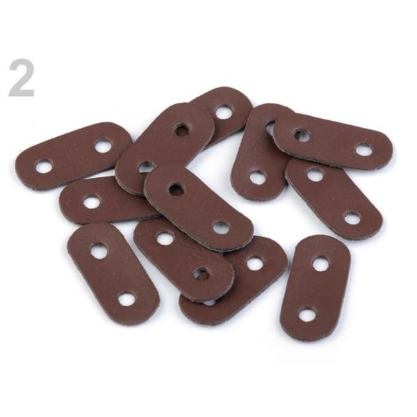 2pc 2 brun foncé Eco Cordon en Cuir Deux Trou de Bouchon de 16x34mm, des fins Et des Serrures, Acces - Photo n°1