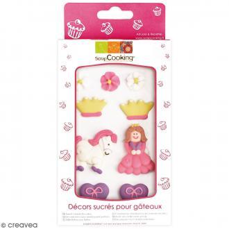 Décors sucre gâteaux - Princesse - 9 pcs