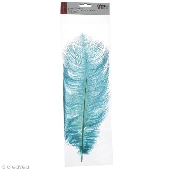 Plume Autruche Bleu turquoise - 30/35 cm - Photo n°1