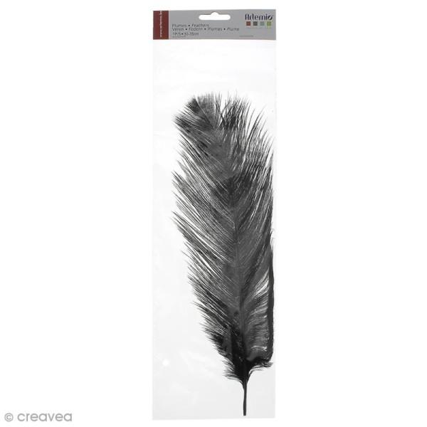 Plume Autruche Noir - 30/35 cm - Photo n°1