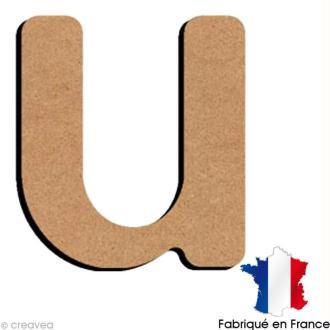 Lettre minuscule en bois U 5 cm