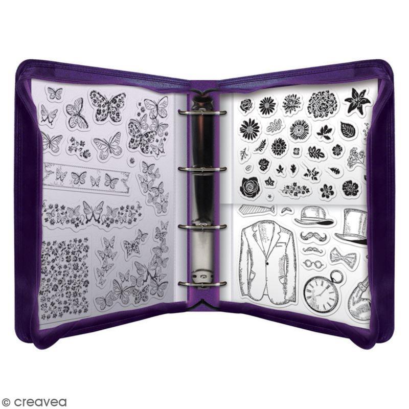 pochette de rangement pour tampons a6 6 feuilles classeur rangement tampons creavea. Black Bedroom Furniture Sets. Home Design Ideas