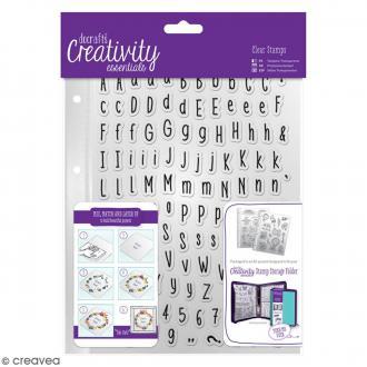 Set tampons clear avec pochette - Alphabet folk - 128 pcs