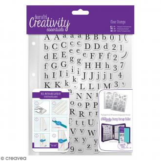 Set tampons clear avec pochette - Alphabet traditionnel - 129 pcs
